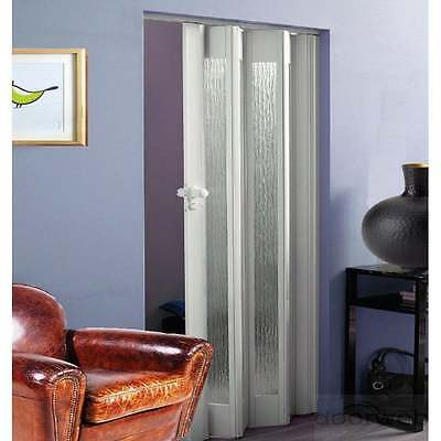 Dynasty White Concertina Accordion Folding Glazed Door PVC Gloss Lockable 12mm