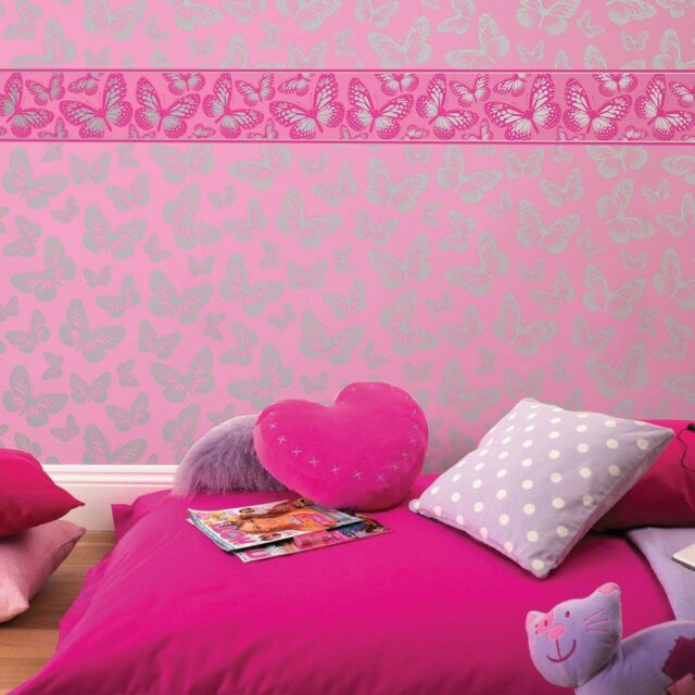 BUTTERFLY WALLPAPER PINK U0026 SILVER METALLIC GIRLS BEDROOM NEW