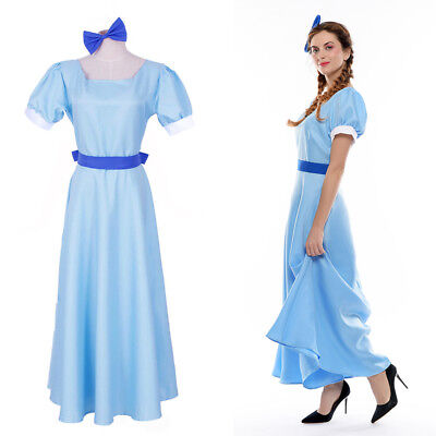 Wendy Costume (Plus Size Peter Pan Wendy Darling Cosplay Costume Blue Blue Fancy Dress)