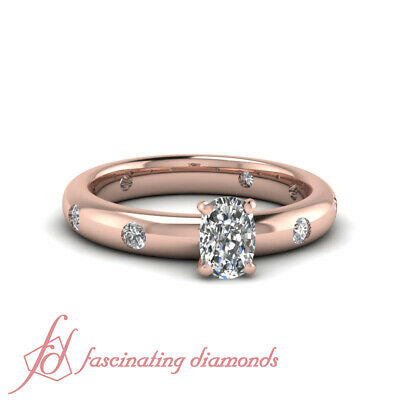 .90 Ct GIA Comfort Fit Round Diamonds Engagement Ring With Cushion Cut Center