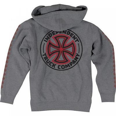 INDEPENDENT TRUCK CO' Skateboard Hoodie - Zip Up Hooded Top / Hoody - Grey - M