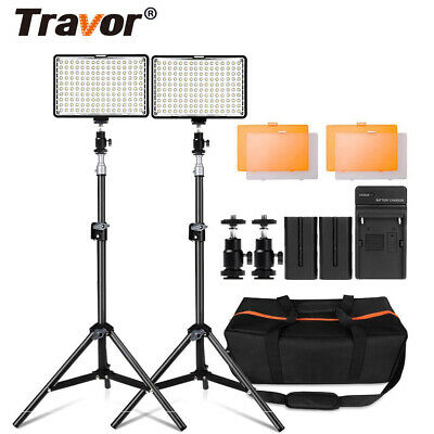 Travor 2Pcs Dimmable LED Panel Lights Kit For Studio Camera Photography Lighting