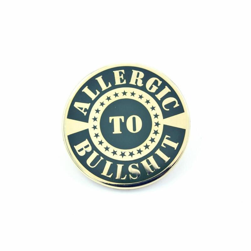 Bastion Tactical Morale Enamel Die-Struck Brass Lapel Pin Allergic to BS Black