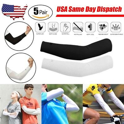 5 Pairs Cooling Arm Sleeves Cover UV Sun Protection Outdoor Basketball Sports US