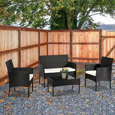 4PC Indoor/Outdoor Patio Lawn Sofa Set Rattan Wicker Furnitu