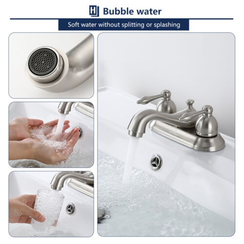 4'' Bathroom Vessel Sink Faucet 3 Holes 2 Handles Basin Mixer Tap W/Pop up Drain 7