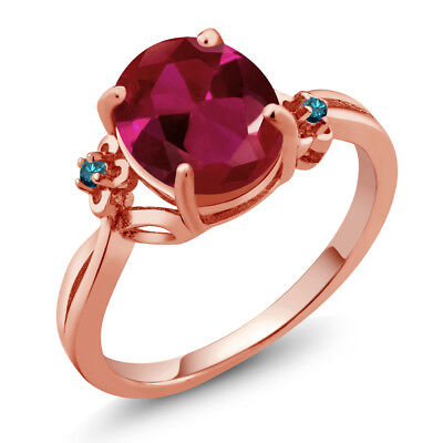 Ruby Blue Diamond Rose (2.53 Ct Oval Red Created Ruby Blue Diamond 14K Rose Gold Ring )