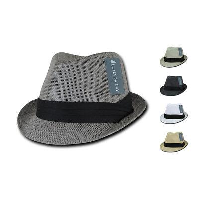roh Fedoras mit Hutband Kappen Mützen Papier Stroh Unisex (Schwarze Fedoras)
