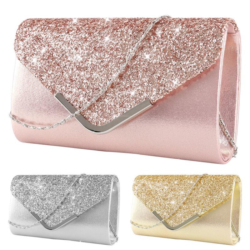 Women Glitter Evening Clutch Bag Ladies Wedding Party Handba