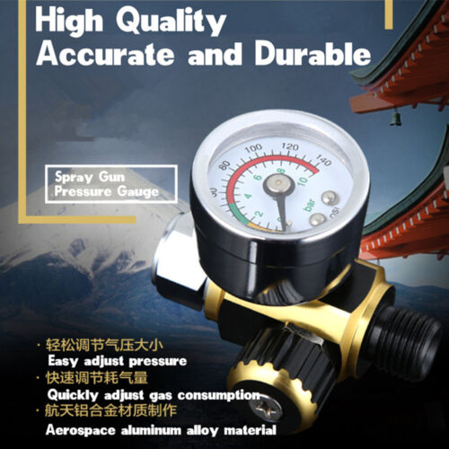 Car Metal G1/4 Spray Paint Gun Air Pressure Regulator Gauge Meter 12mm Diameter