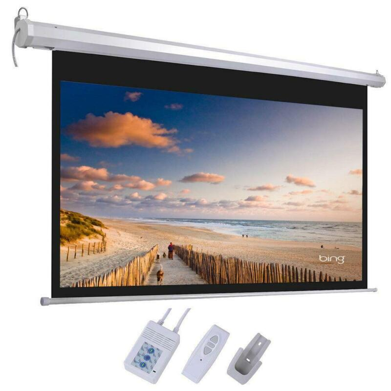 """HD 92"""" 16:9 Material Foldable Electric Motorized Projector Screen + Remote"""