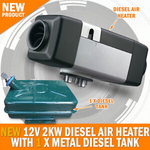 NEW 12 Volt 2KW Diesel Air Heater With Metal Tank Caravan, Camping RV