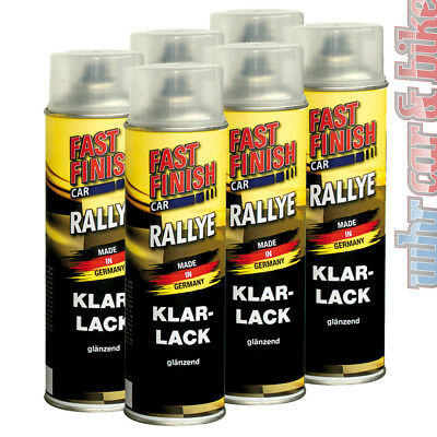 6x 500ml Fast Finish 292859 Klarlack transparent Rallye Lack Spraydose glänzend