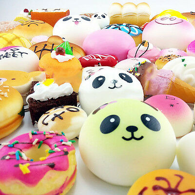 20Pcs Lot Random Jumbo Medium Mini Squishy Soft Panda/Bread/Cake Phone Straps