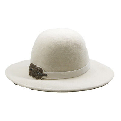 White Felt Hat - Women's Wool Felt Hat -White
