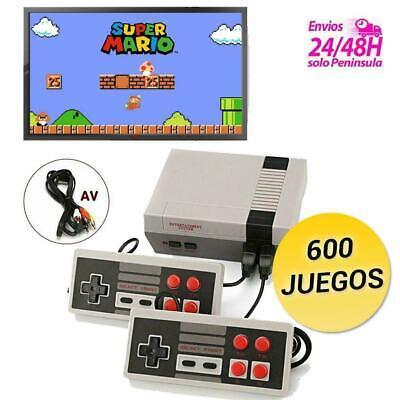 consola clásica NES retro con videojuegos y dos mandos conexión TV 600 JUEGOS