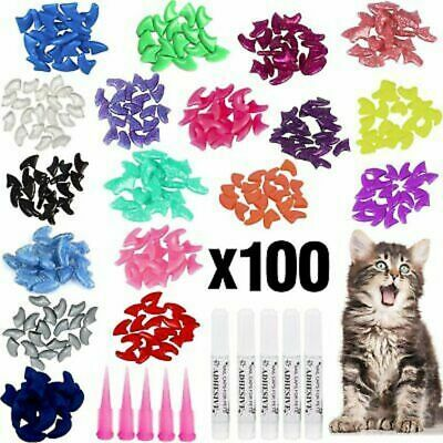 100pcs Soft Pet Cat Nail Caps Colorful Claws Nail Covers with Glue & Applicators
