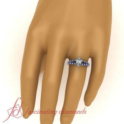 .85 Ct Pear Shaped Diamond And Sapphire Split Band Womens Engagement Rings GIA 5