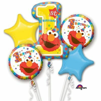 Elmo 1st Birthday Mylar Bouquet Balloons Party Decoration Set of 5 ()