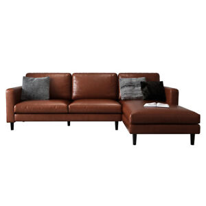 Nornas 3 Seater PU Leather Modular Sofa with Chaise - Brown