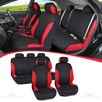 Black/Red Side Full Set Car Seat Covers Premium Stitching w/ Split Bench Sport
