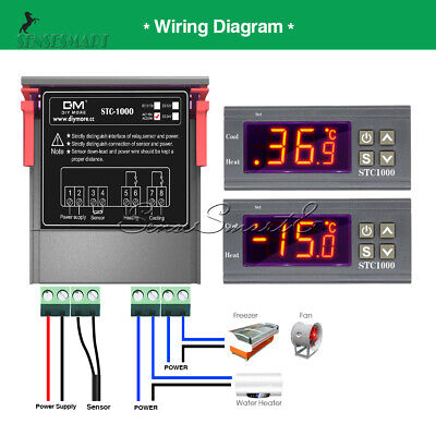 Stc-1000 Digital Ac 110-220v Temperature Controller Temp Thermostat Ntc Sensor