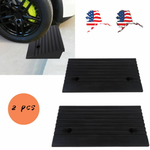 2pcs Portable Rubber Power Wheelchair Threshold Ramps for Ca