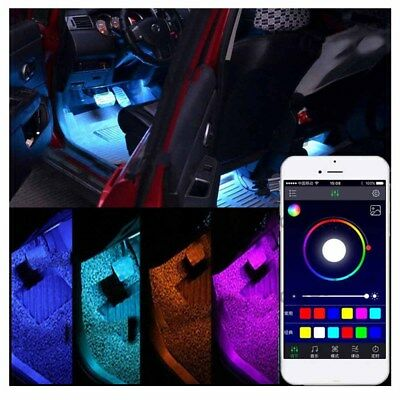 4 x9 LED Car Decorative RGB Lights Interior Foot Mood Light Phone App Control WI](Lights For Decorations)