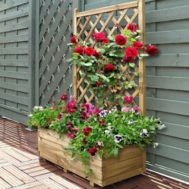 Wooden Rectangle Trellis Planter
