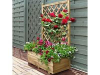Wooden Rectangle Trellis Planter