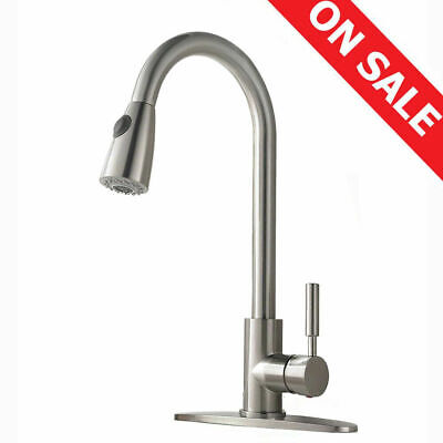 Commercial Kitchen Sink Faucet Pull Out Single Handle Pull Down Sprayer W/ Cover
