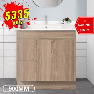 Bathroom Vanity 900mm Freestanding Timber Look Oak Cabinet LOGAN *NEW