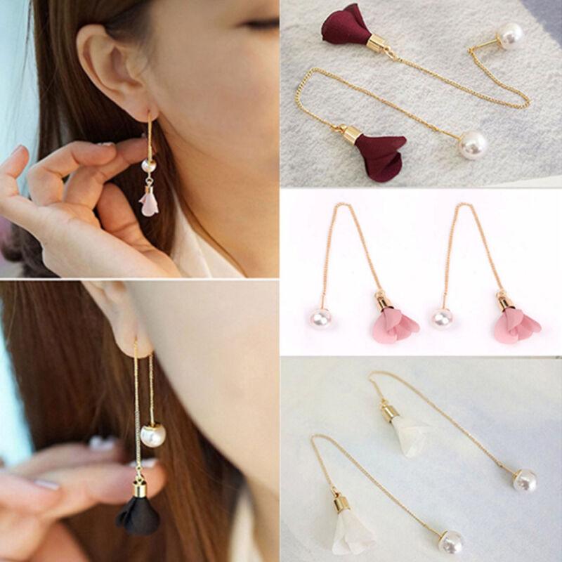Earrings - Women Fashion Gold Silver Plated Crystal Flower Drop Dangle Long Chain Earrings