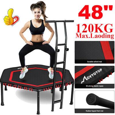 "48"" Trampoline Fitness Exercise Mini Rebounder Cardio Gym Trainer w/ Handrail US"