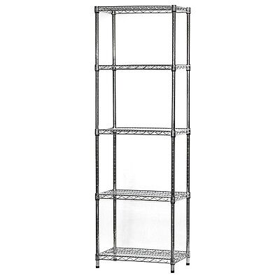 14d X 24w Nsf Metal Chrome Wire Shelving Rack With 5 Shelves