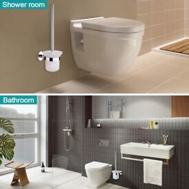 Wall Mounted Toilet Brush + Holder in Stainless Steel and Glass (No Drilling)