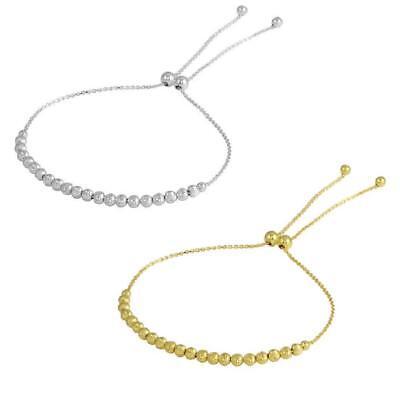 Sterling Silver 3 mm Diamond Cut Bead Ball Lariat Bracelet 3mm Silver Diamond Cut Bracelet