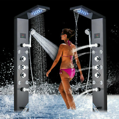 ELLO&ALLO Stainless Steel Shower Panel Tower System LED Rain