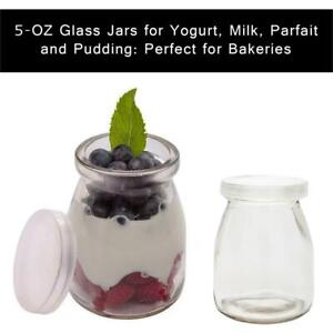 NEW 5-OZ Glass Jars for Yogurt, Milk, Parfait, and Pudding: Perfect for Bakeries, Buffets, Breakfast Bars, and Restau...