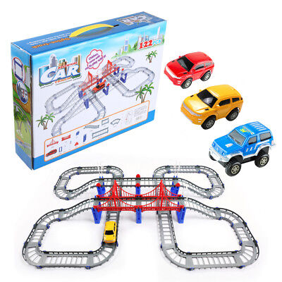 122 Pcs Electic Racing Rail Cars Urban Track Model Play Set Kids DIY Toy Gift US for sale  Shipping to India