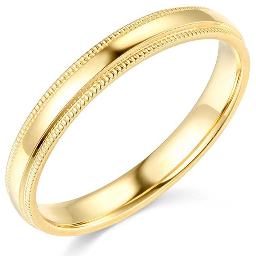 10K Yellow Gold 2mm 3mm 4mm 5mm 6mm Comfort Fit Men Women Milgrain Wedding Band 2