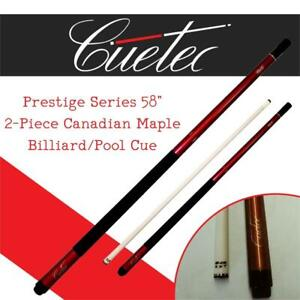 NEW Cuetec Prestige Series 58 2-Piece Canadian Maple Billiard/Pool Cue, Candy Apple Red Condtion: New, Candy Apple Red