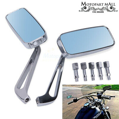 For Honda Yamaha Bobber Cafe Racer 8mm 10mm Motorcycle Rearview Mirrors Chrome