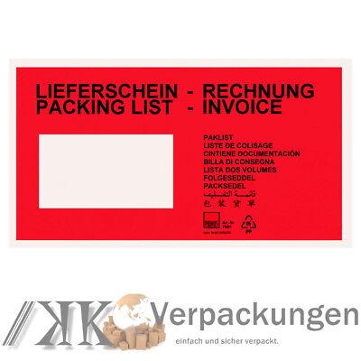 2000 rote Lieferscheintaschen DIN lang Begleitpapierhüllen Dokumententaschen NEU
