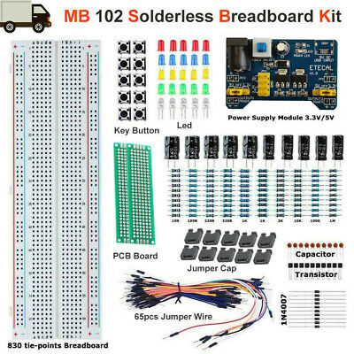 Mb-102 Solderless Breadboard Protoboard 830 Tie Points Test Pcb Learning Set Kit