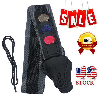 Guitar Strap With 3 Pick Holders Best For Electric/Acoustic Guitar Bass