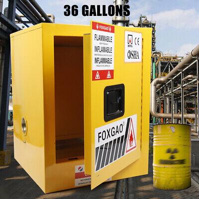 Safety Flammable Liquid Storage Cabinet Steel W Adjustable Shelf 36 Gallon New
