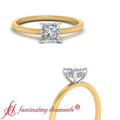 Womens Two Tone Hidden Halo Engagement Ring With 3/4 Carat Princess Cut Diamond