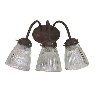 3 Light Cobblestone Wall (Cobblestone and Clear Ribbed Glass 3 Light 15