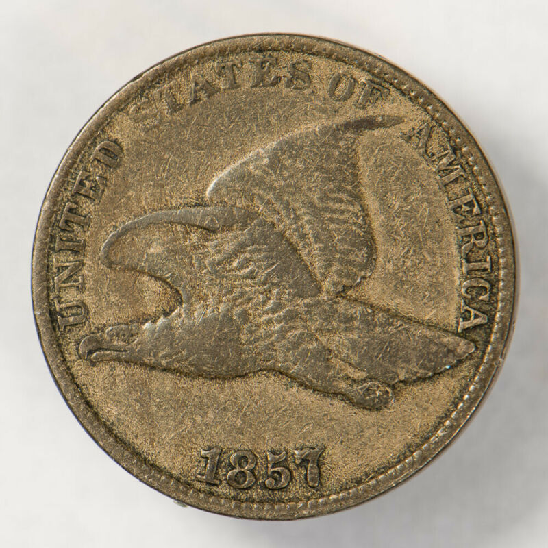 1857 1c FLYING EAGLE SMALL CENT, NICE DETAIL LOT#N620